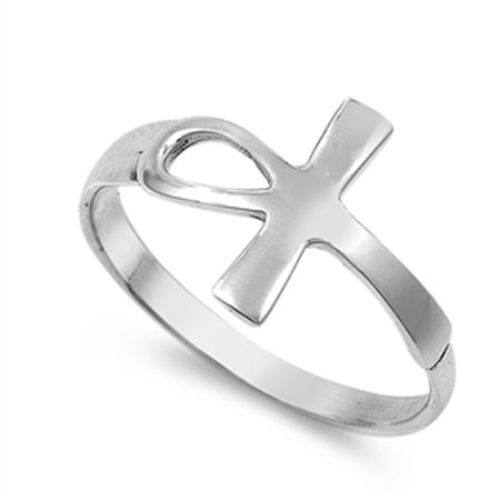 Sterling Silver Women's Sideways Cross Ankh Ring (Sizes 5-10) (Ring Size (Egyptian Ankh Cross Ring)