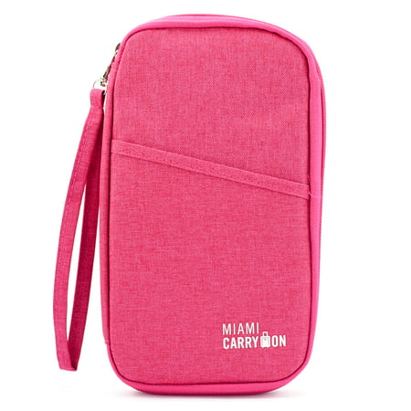 Travel Passport Bag, Travel Wallet Card Organizer - Pink