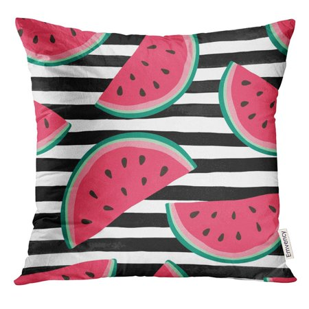 ARHOME Watermelon Slices on Black and White Watercolor Stripes for Holiday Seasonal Summer Beach Parties Pillow Case 16x16 Inches Pillowcase