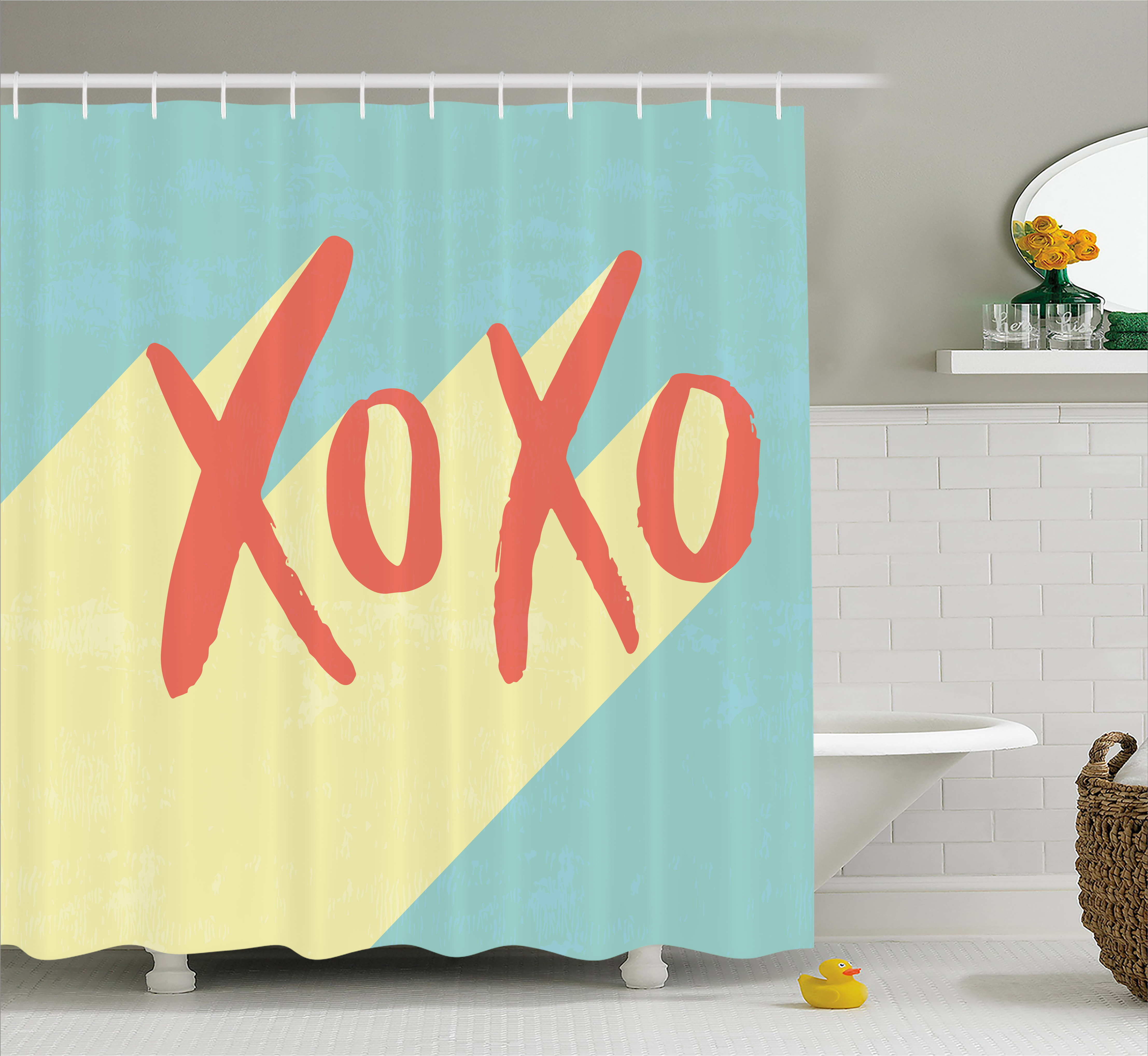 Xo Decor Shower Curtain, Pop Art Retro Hugs and Kisses Symbol on Vibrant Illustration, Fabric Bathroom Set with Hooks, 69W X 70L Inches, Turquoise Dark Coral Yellow, by Ambesonne