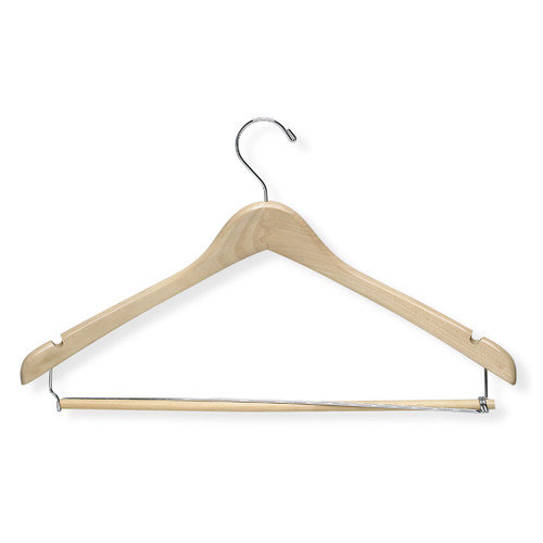 Honey Can Do Contoured Suit Hanger with Locking Bar in Maple (6 Pack) (Set of 2)