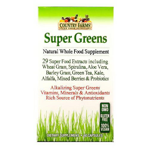 Country Farms Super Greens Natural Whole Food Supplement 100% Vegetarian Capsules  - 60 Ea