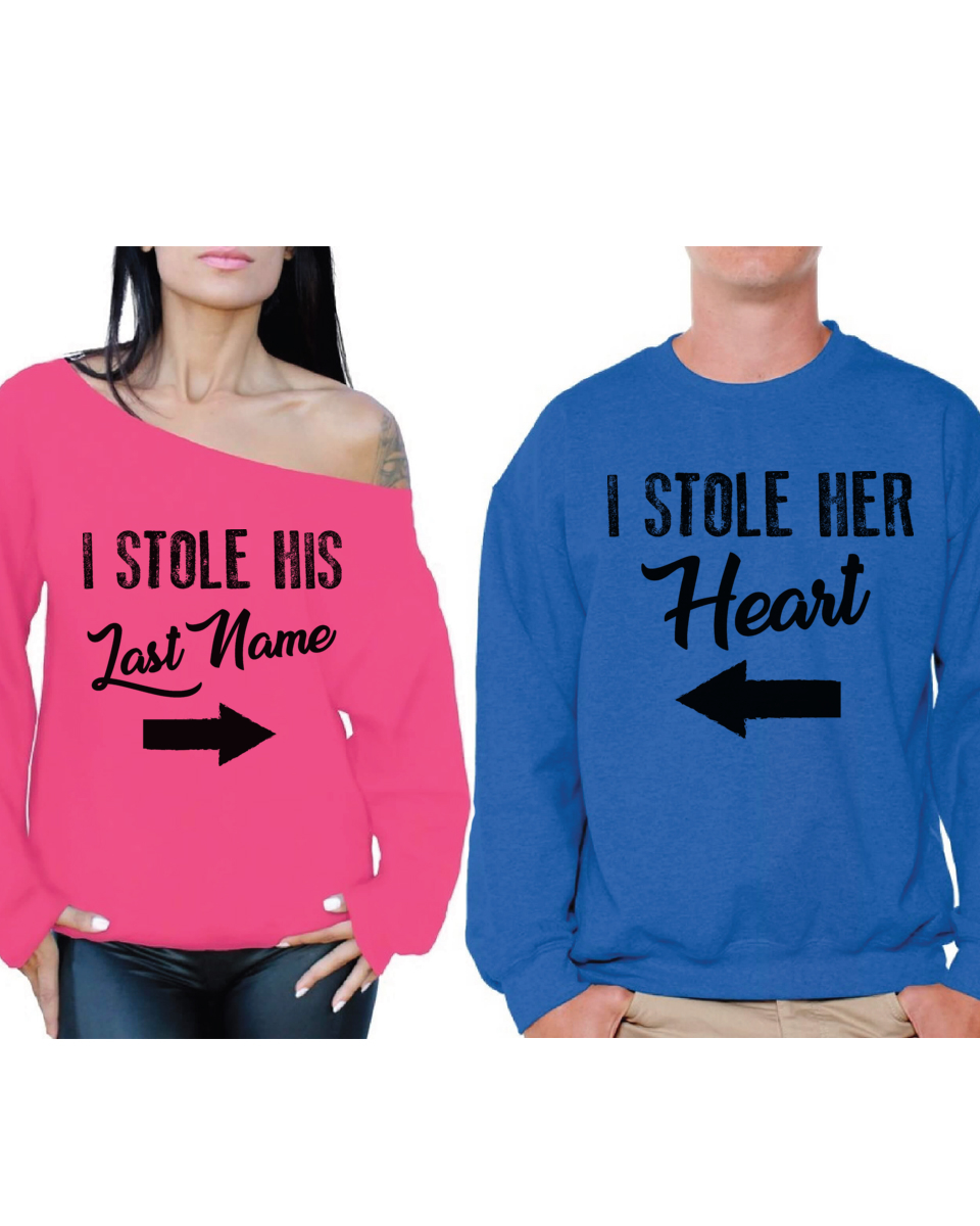 10d4b54111 Awkward Styles Matching Husband Wife Couple Sweatshirts I Stole His Last  Name Off Shoulder Sweatshirt I Stole Her Heart Sweater Cute Couple Sweaters  Happy ...