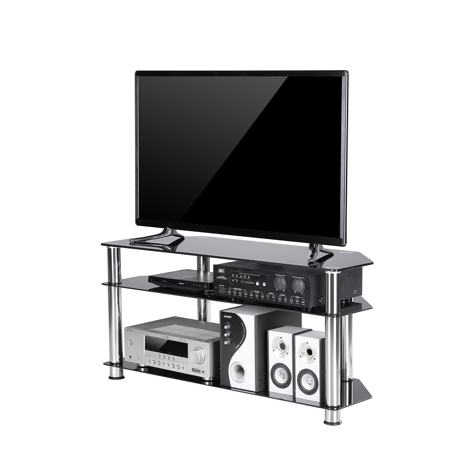 Rfiver Black Tempered Glass Corner TV Stand for up to 50 inch LCD, LED OLED Flat or Curved Screen TVs