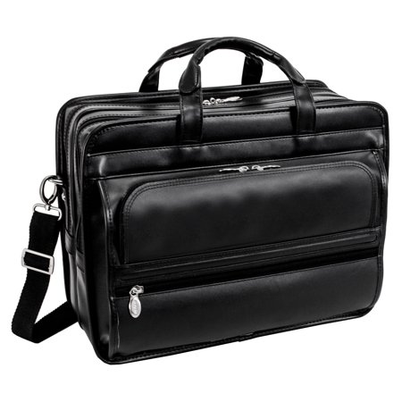- McKlein ELSTON, Checkpoint-Friendly Double Compartment Laptop Briefcase, Top Grain Cowhide Leather, Black (86485)