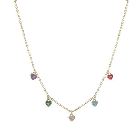 Dlux Jewels Multi Color Enamel Hearts on Gold Tone Brass Necklace, 15 in.