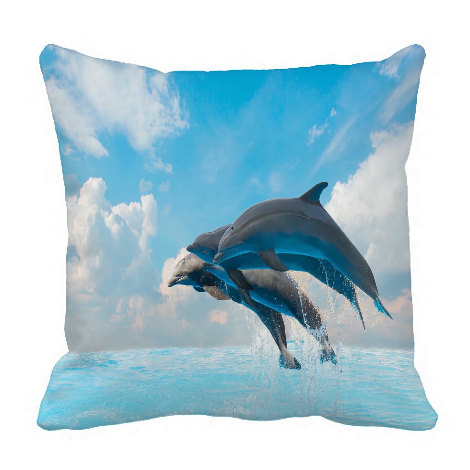 Eczjnt Group Of Jumping Dolphins Beautiful Seascape Pillow Case Pillow Cover Cushion Cover 16x16 Inch Walmart Com Walmart Com