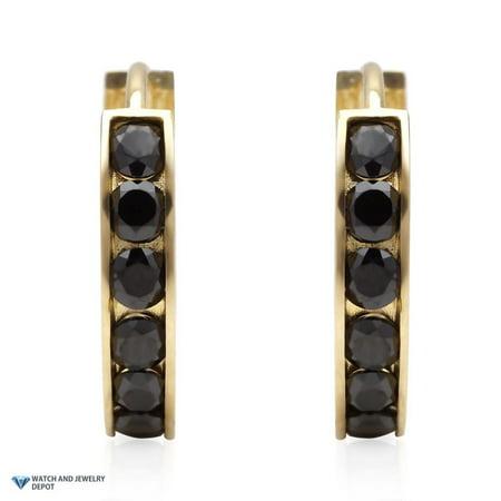 14k Yellow Gold 0.8Ct Black Simulated Diamond Huggie Hoop Earrings 0.5