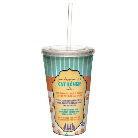 Tree Free Greetings 98175 Angi And Silas Cat Lover Double Walled Cool Cup With Reusable Straw  16 Ounce
