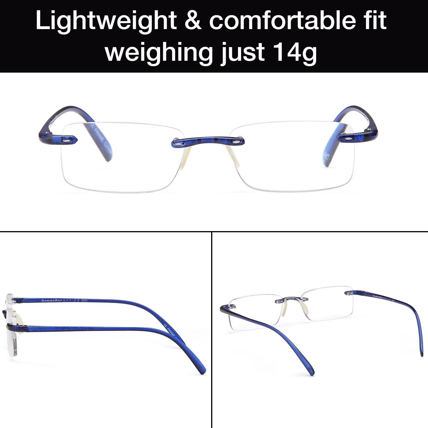 4145e8c3a32 GAMMA RAY 2 Pack of Super Lightweight Flex Arm Slim Rimless Readers with  Magnification - 1.75x Magnification - Walmart.com