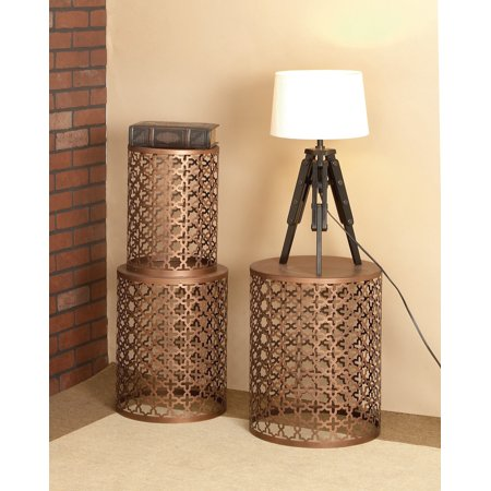 Decmode - Small Copper Brown Hammered Metal Round End Tables, Set of 3 Hammered Nickel Table