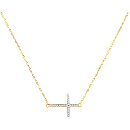 10kt Yellow Gold Womens Round Diamond Sideways Horizontal Cross Pendant Necklace 1/20 Cttw = .06 Cttw (I3 Clarity, round cut)