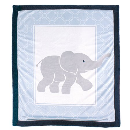 Luvable Friends Baby Boy and Girl Blanket with Sherpa Back - Elephant