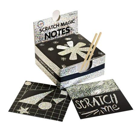 Scratch Art Kit  Magic Scratch Off Notes & [2] Stylus for Kids & Adults  100 Mini Black Paper Sheets (3x3