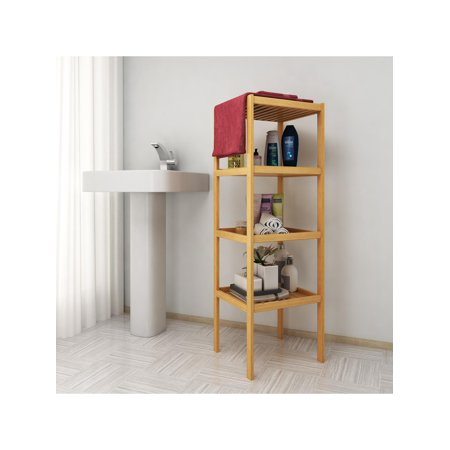 bamboo bathroom shelf 5 tier multifunctional storage rack shelving unit - Bathroom Shelf Unit