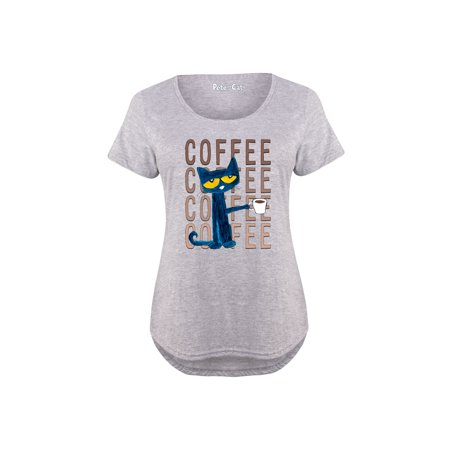 Pete The Cat Pete With Coffee Adult - Ladies Plus Size Scoop Neck Tee](Adult Plus)