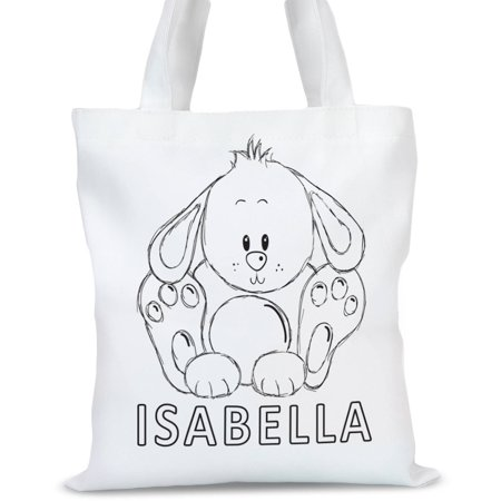 Rabbit Bag - Personalized Add Color Kids Bunny Rabbit Tote Bag, Sizes 11