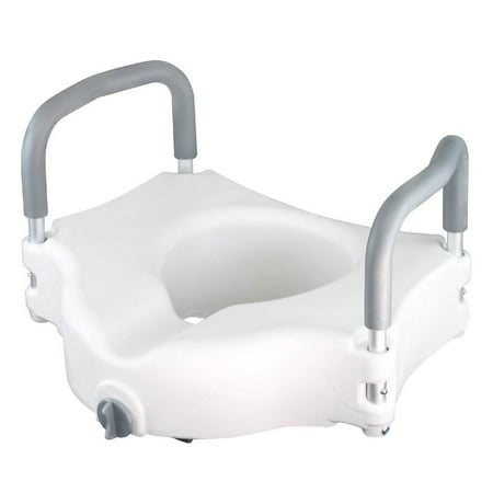 Raised Toilet Seat - Best Portable Elevated Riser with Padded Handles - Toilet Seat Lifter for Bathroom Safety -