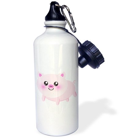 3dRose Cute happy pig cartoon - pink kawaii farm animal - nursery kids child - porker pork bacon ham, Sports Water Bottle, 21oz