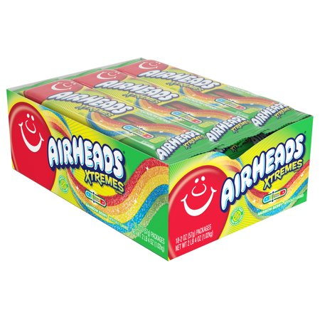 Airheads Xtremes Rainbow Berry Sour Belts Candy, 36 Oz., 18 Count