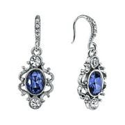 Blue Sapphire-Colored Oval Drop Earrings