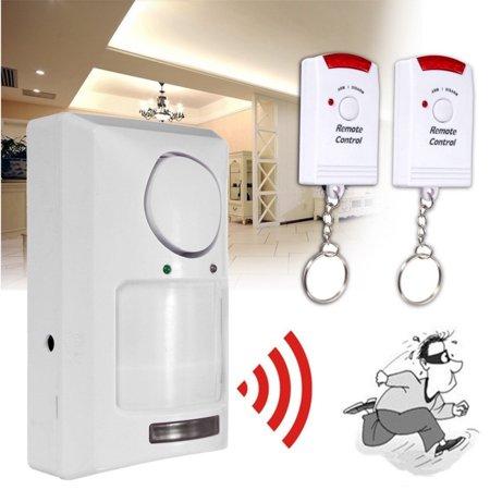 Tuscom Wireless Pir Motion Sensor Alarm + 2 Remote Controls Shed Home Garage Caravan