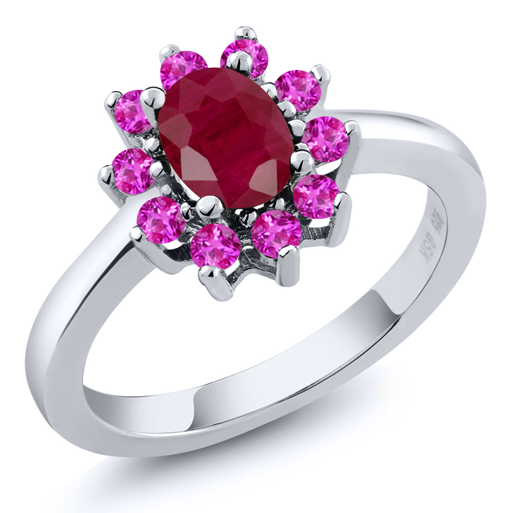 1.52 Ct Oval Red Ruby Pink Sapphire 925 Sterling Silver Ring by