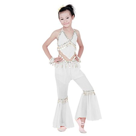 Hip Shakers Kids Professional Belly Dance Genie Costume with Silver Coins](Genie Costumes For Girls)