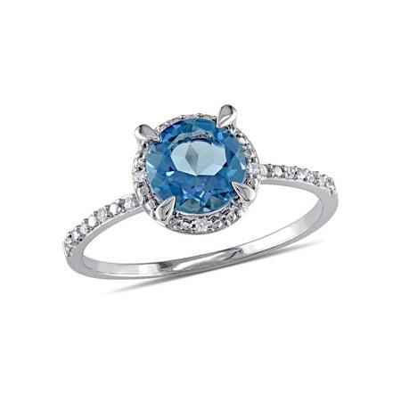 Halloween 10k London (1.60 Carat (ctw) London Blue Topaz Solitaire Ring in 10K White)