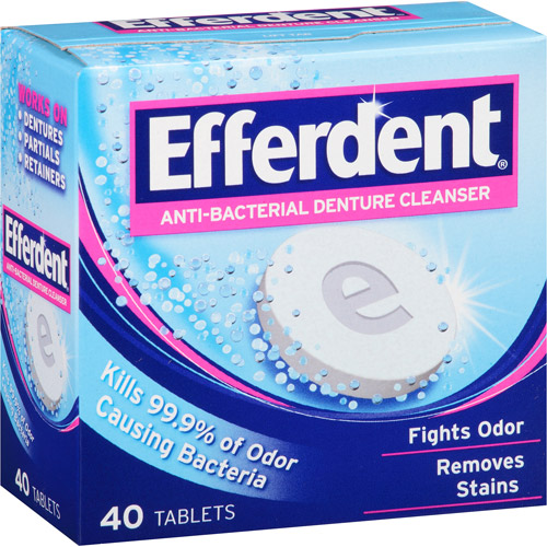 Efferdent Anti-Bacterial Denture Cleanser Tablets, 40 count