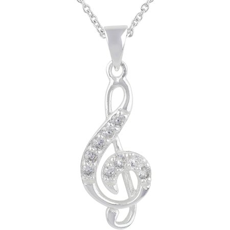 Pave CZ Stone Sterling Silver Music Note Pendant Necklace, 18 ()