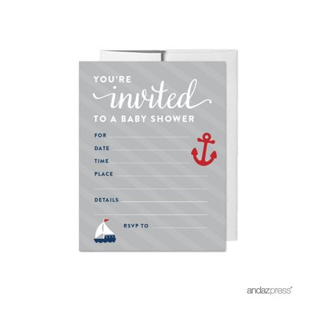 Navy Blue Nautical Baby Shower Party Blank Invitations, 20ct - Sprinkle Baby Shower Invitations