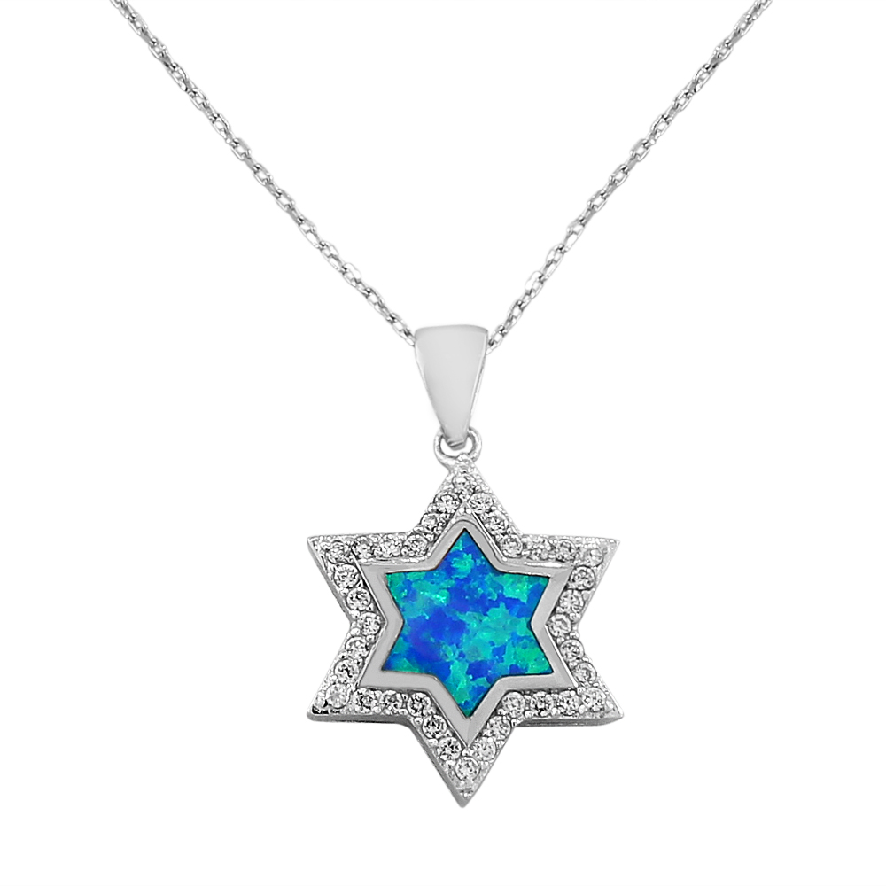 925 Sterling Silver Jewish Star of David Blue Turquoise-Tone Simulated Opal White Cubic Zirconia Pendant Necklace by My Daily Styles
