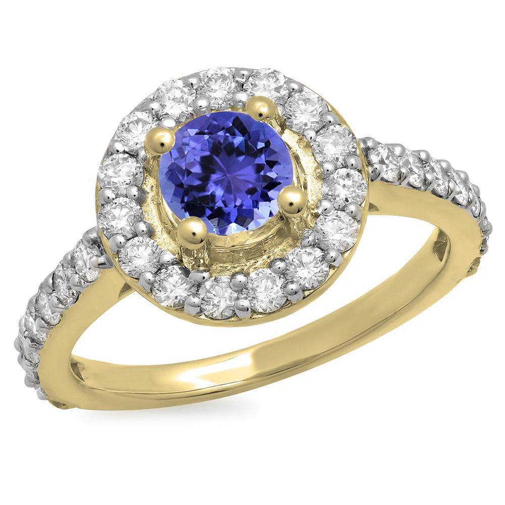 1.00 Carat (ctw) 18K Yellow Gold Round Tanzanite & White Diamond Ladies Halo Style Bridal Engagement Ring 1 CT