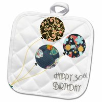 3dRose Happy 30th Birthday - Modern stylish floral Balloons. Elegant black brown blue 30 year old Bday - Pot Holder, 8 by 8-inch