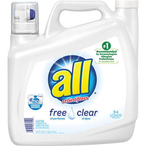 All with Stainlifters Free of Perfumes Clear of Dyes Liquid Laundry Detergent, 94 loads, 141 fl oz