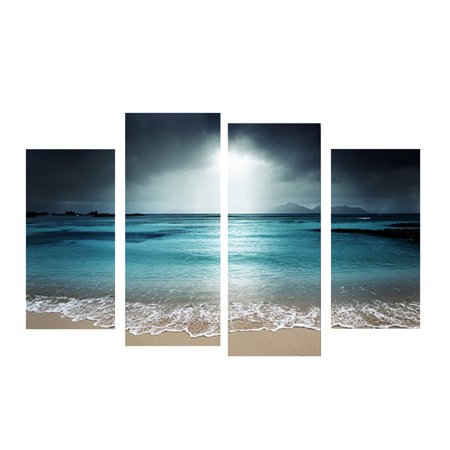 Joyfeel Clearance 4 Panels Azure Sea Sky Seascape Unframed Oil Paintings Wall Art Decor for Living Room ()
