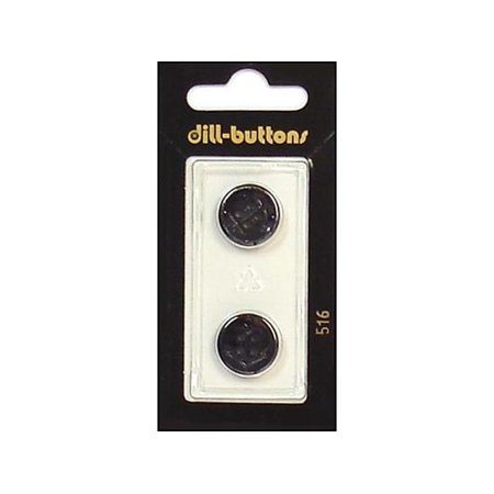 Dill Buttons 14mm 2pc Shank Black Square