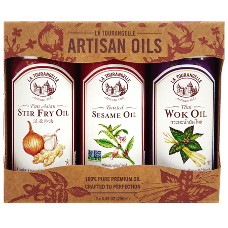 La Tourangelle, Pan Asian Stir Fry Oil, Thai Wok Oil, Toasted Sesame Oil Asian Trio of Oils, 3 x 8.45 oz (3 x 250