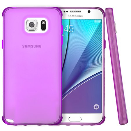 Pink Flexible Silicone - Samsung Galaxy Note 5 Case, [Hot Pink] Slim & Flexible Anti-shock Crystal Silicone Protective TPU Gel Skin Case Cover