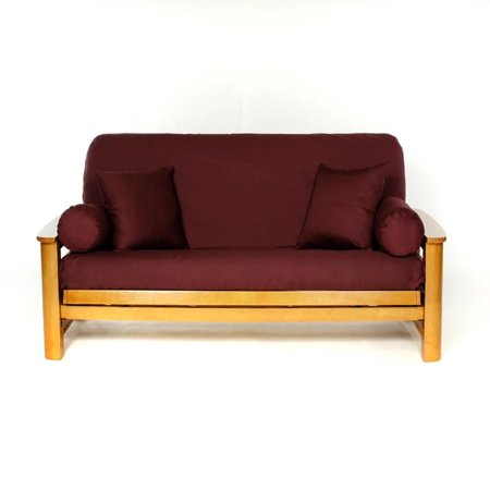 LS COVERS BURGUNDY FULL FUTON COVER, Full Size Fits 6-8in Mattress, 54 x 75 Inch