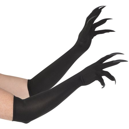 Long Cat Claw Gloves for Adults, One Size, Long Gloves Feature Black Talons