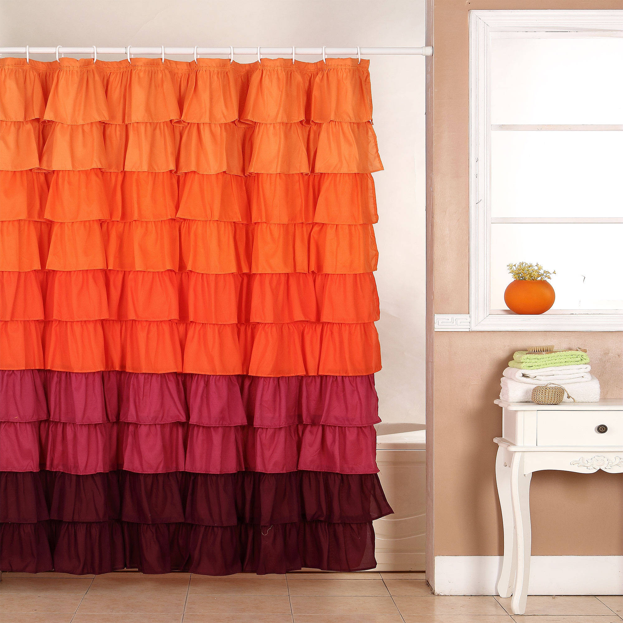 Somerset Harvest Ruffle Home Shower Curtain with Buttonholes