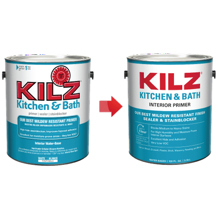 KILZ Interior Kitchen & Bath Primer, Sealer & Stainblocker - New Look, Same Trusted Formula