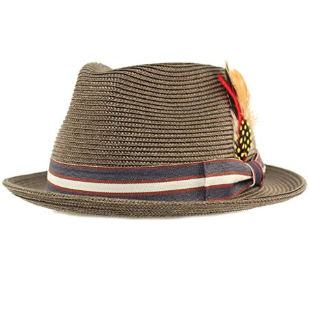 SK Hat shop Men's Stripe Band Removable Feather Derby Fedora Curled Brim Hat L/XL