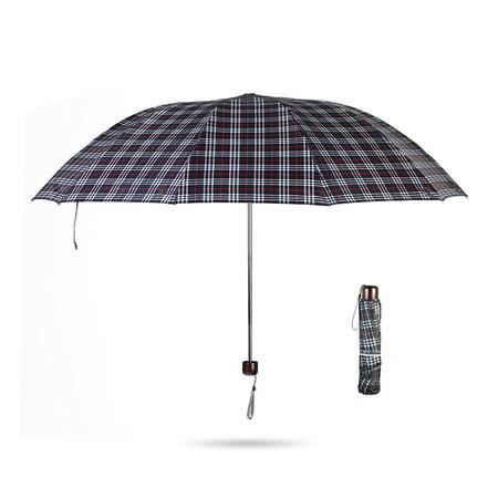42 Inch Mini Folding Umbrella - Portable 42 inches Large Folding Travel Umbrella Tri-Folded 10-Rib Windproof Waterproof Rain Umbrella for Women Men