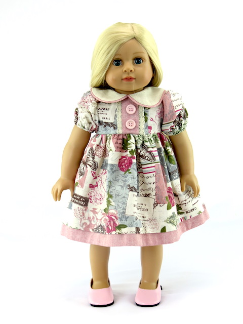"""Shabby Chic Pink And Ivory Dress -Fits 18"""" American Girl Dolls, Madame Alexander, Our Generation, etc. 