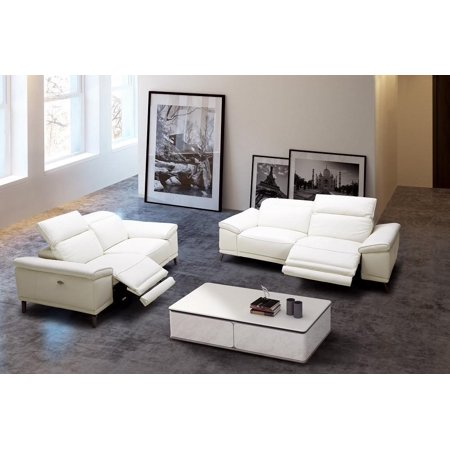 J&M Furniture Gaia White Italian Premium Leather Recliner Sofa & Loveseat  Modern