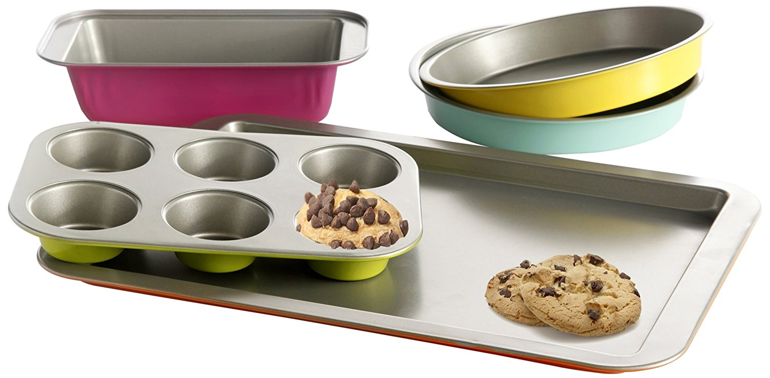 92286.05 Color Splash Lyneham 5-Piece Carbon Steel Bakeware Set, Gray5Pc bakeware set By Gibson Home by