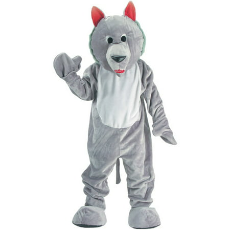 Grey Wolf Mascot Adult Halloween Costume, Size: Men's - One Size](Wolf Adult Costume)